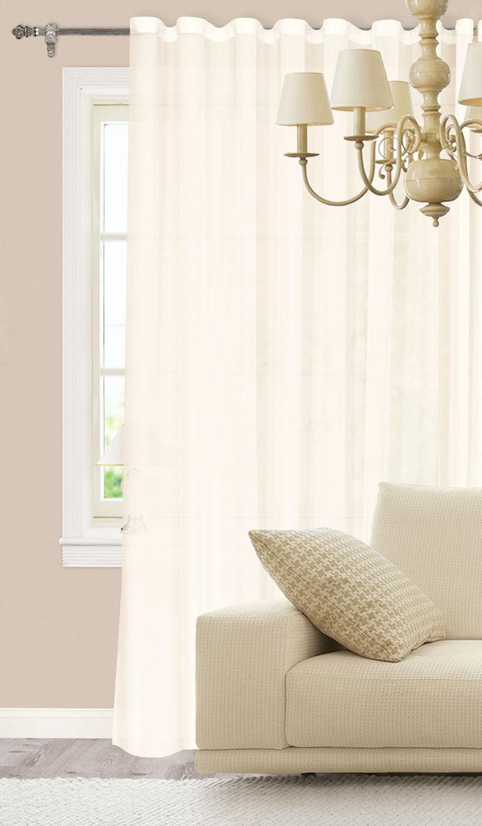 Штора готовая для гостиной Garden, на ленте, цвет: молочный, размер 300*260 см. С 537075 V1С 537075 V1Изящная штора Garden выполнена из высококачественного 100% полиэстера. Полупрозрачная ткань, приятный цвет привлекут к себе внимание и органично впишутся в интерьер помещения. Такая штора идеально подходит для солнечных комнат. Мягко рассеивая прямые лучи, она хорошо пропускает дневной свет и защищает от посторонних глаз. Отличное решение для многослойного оформления окон. Эта штора будет долгое время радовать вас и вашу семью! Штора крепится на карниз при помощи ленты, которая поможет красиво и равномерно задрапировать верх.