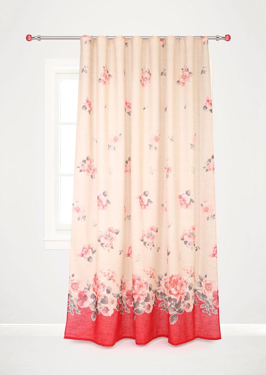 Штора готовая для гостиной Garden, на ленте, цвет: красный, размер 200*280 см. С 10229 - W1222 V2С 10229 - W1222 V2Роскошная портьерная штора Garden выполнена из ткани рогожка (93% полиэстера и 7% льна). Материал плотный и мягкий на ощупь. Оригинальная текстура ткани и изящный цветочный принт привлекут к себе внимание и органично впишутся в интерьер помещения. Эта штора будет долгое время радовать вас и вашу семью! Штора крепится на карниз при помощи ленты, которая поможет красиво и равномерно задрапировать верх. Стирка при температуре 30°С.