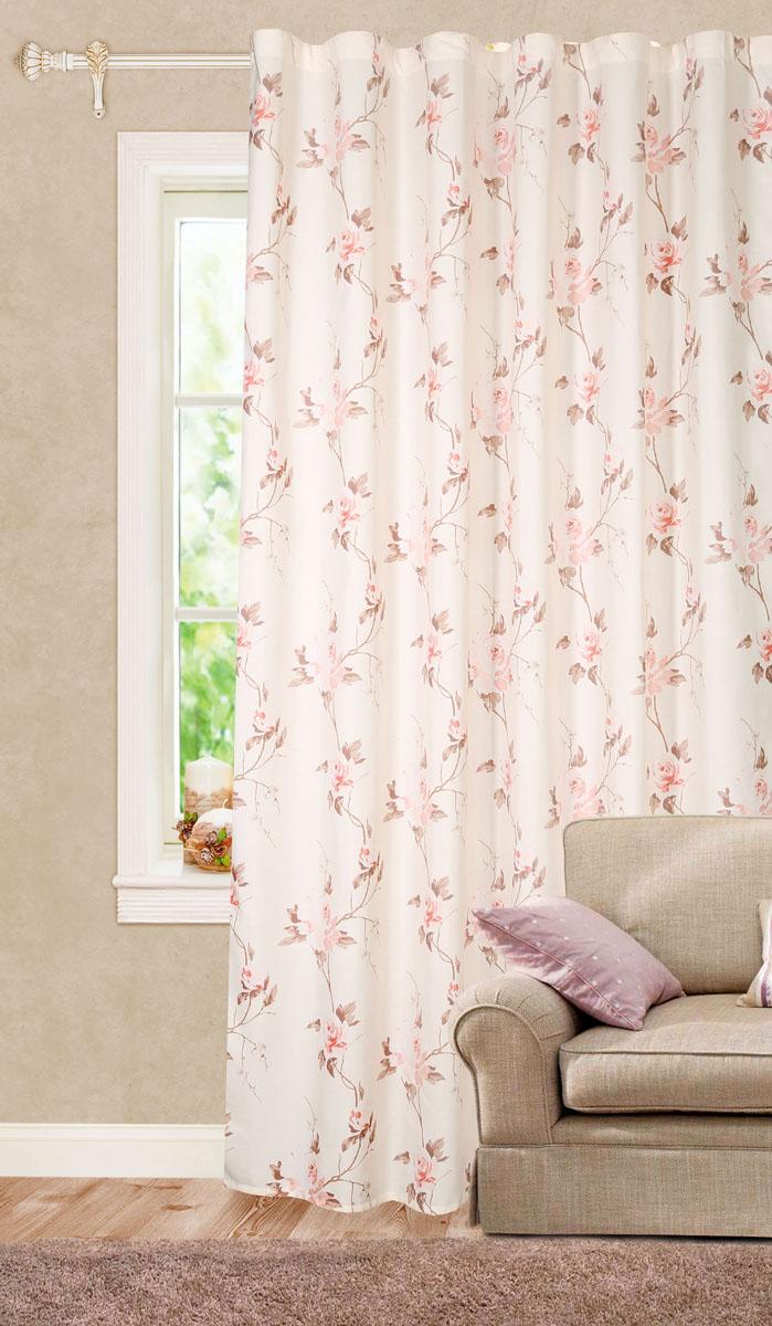 Штора готовая для гостиной Garden, на ленте, цвет: светло-розовый, размер 200*260 см. C 9166 - W1687 V18C 9166 - W1687 V18Роскошная штора-портьера Garden выполнена из сатина (100% полиэстера) с печатью. Материал плотный и мягкий на ощупь. Оригинальная текстура ткани и цветочный принт привлекут к себе внимание и органично впишутся в интерьер помещения. Эта штора будет долгое время радовать вас и вашу семью! Штора крепится на карниз при помощи ленты, которая поможет красиво и равномерно задрапировать верх. Стирка при температуре 30°С.