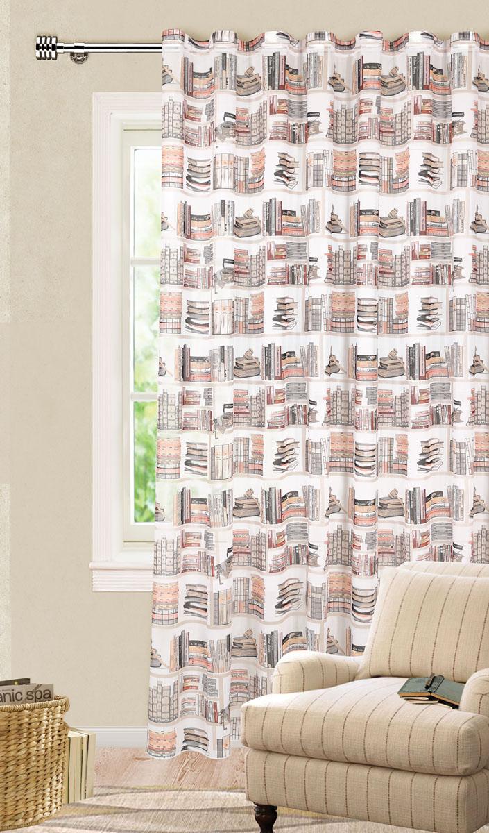 Штора готовая для гостиной Garden, на ленте, цвет: серый, бежевый, размер 300*260 см. С 9154 - W356 V6С 9154 - W356 V6Роскошная тюлевая штора Garden выполнена из микро батиста (100% полиэстера). Материал плотный и мягкий на ощупь. Оригинальная текстура ткани и яркие изображения книг привлекут к себе внимание и органично впишутся в интерьер помещения. Эта штора будет долгое время радовать вас и вашу семью! Штора крепится на карниз при помощи ленты, которая поможет красиво и равномерно задрапировать верх. Стирка при температуре 30°С.