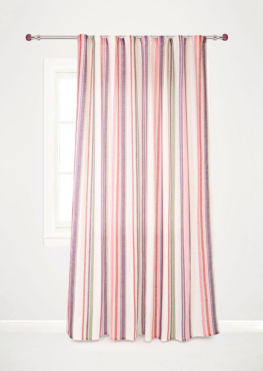 Штора готовая для гостиной Garden Decorato, на ленте, цвет: сиреневый, размер 200*280 см. С 8178 - W1222 V19С 8178 - W1222 V19Роскошная портьерная штора Garden Decorato выполнена из ткани рогожка (93% полиэстера и 7% льна) с печатью. Материал плотный и мягкий на ощупь. Оригинальная текстура ткани и яркий принт в полоску привлекут к себе внимание и органично впишутся в интерьер помещения. Эта штора будет долгое время радовать вас и вашу семью! Штора крепится на карниз при помощи ленты, которая поможет красиво и равномерно задрапировать верх.
