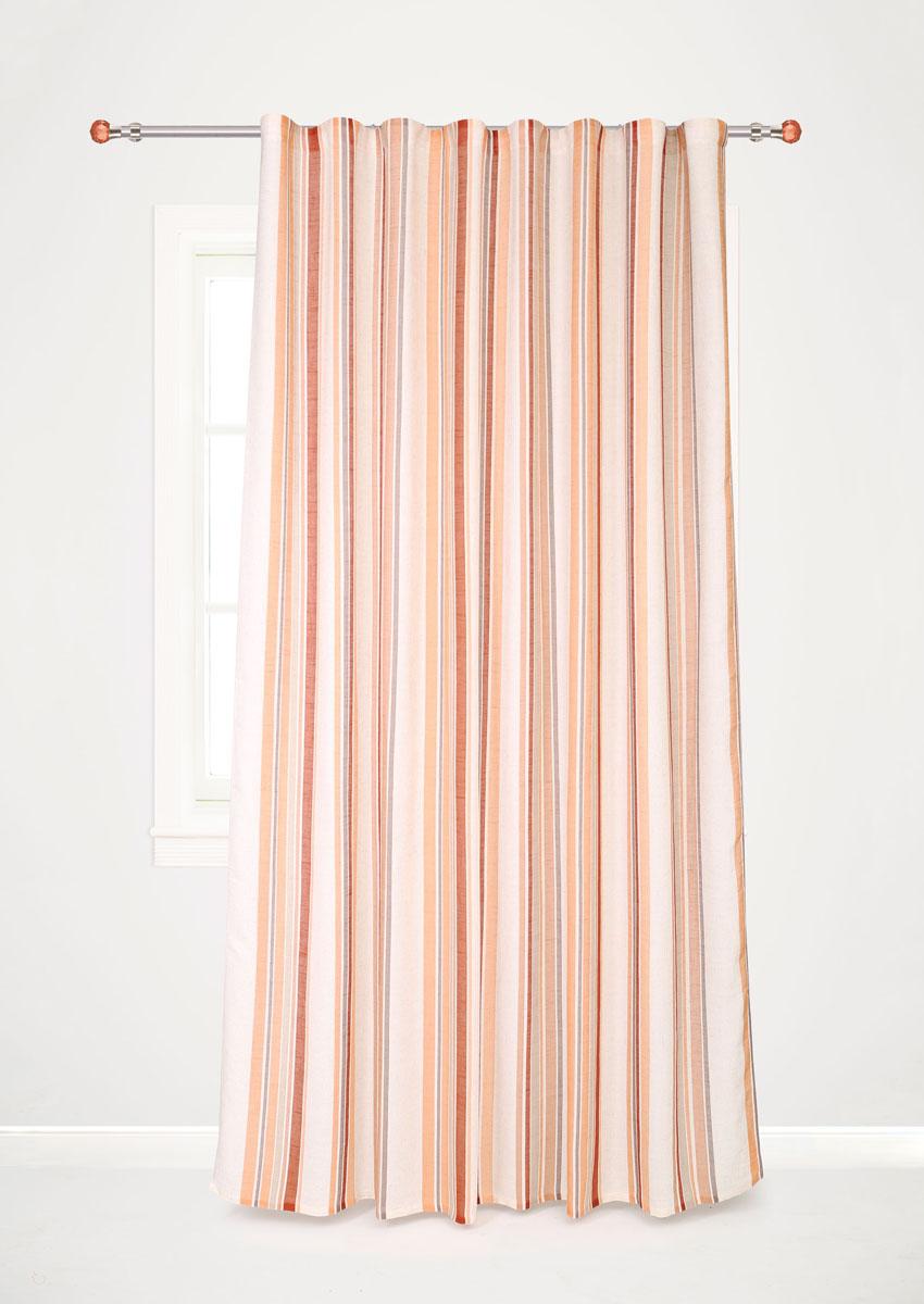 Штора готовая для гостиной Garden Decorato, на ленте, цвет: оранжевый, размер 200*280 см. С 8178 - W1222 V18С 8178 - W1222 V18Роскошная портьерная штора Garden Decorato выполнена из ткани рогожка (93% полиэстера и 7% льна) с печатью. Материал плотный и мягкий на ощупь. Оригинальная текстура ткани и яркий принт в полоску привлекут к себе внимание и органично впишутся в интерьер помещения. Эта штора будет долгое время радовать вас и вашу семью! Штора крепится на карниз при помощи ленты, которая поможет красиво и равномерно задрапировать верх.