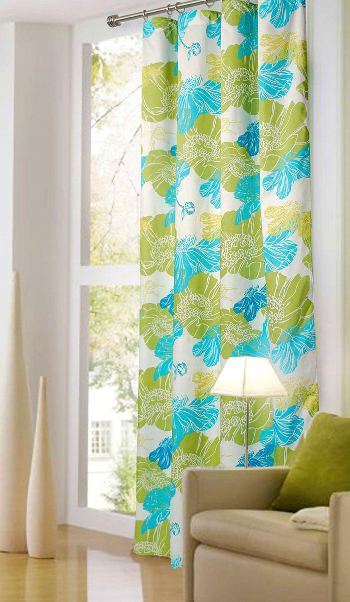 Штора готовая для гостиной Garden, на ленте, цвет: зеленый, размер 200*280 см. С 6314 - W1223 V2С 6314 - W1223 V2Роскошная портьерная штора Garden выполнена из сатина (100% полиэстера). Материал плотный и мягкий на ощупь. Оригинальная текстура ткани и цветочный принт привлекут к себе внимание и органично впишутся в интерьер помещения. Эта штора будет долгое время радовать вас и вашу семью! Штора крепится на карниз при помощи ленты, которая поможет красиво и равномерно задрапировать верх. Стирка при температуре 30°С.