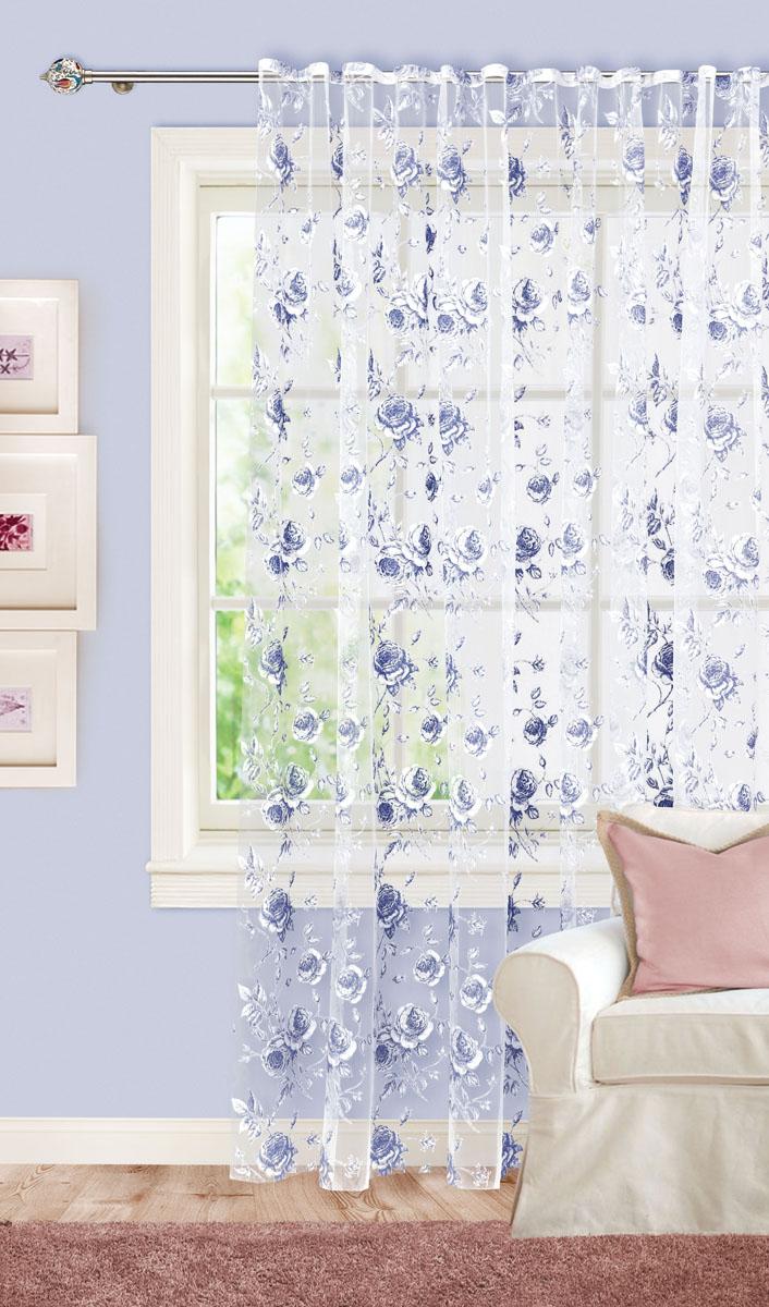 Штора готовая для гостиной Garden, на ленте, цвет: синий, размер 300*260 см. С 2187-W260 V7С 2187-W260 V7Изящная тюлевая штора Garden выполнена из органзы (65% полиэстера и 35% вискозы). Полупрозрачная ткань, приятная цветовая гамма, цветочный принт привлекут к себе внимание и органично впишутся в интерьер помещения. Такая штора идеально подходит для солнечных комнат. Мягко рассеивая прямые лучи, она хорошо пропускает дневной свет и защищает от посторонних глаз. Отличное решение для многослойного оформления окон. Эта штора будет долгое время радовать вас и вашу семью! Штора крепится на карниз при помощи ленты, которая поможет красиво и равномерно задрапировать верх.