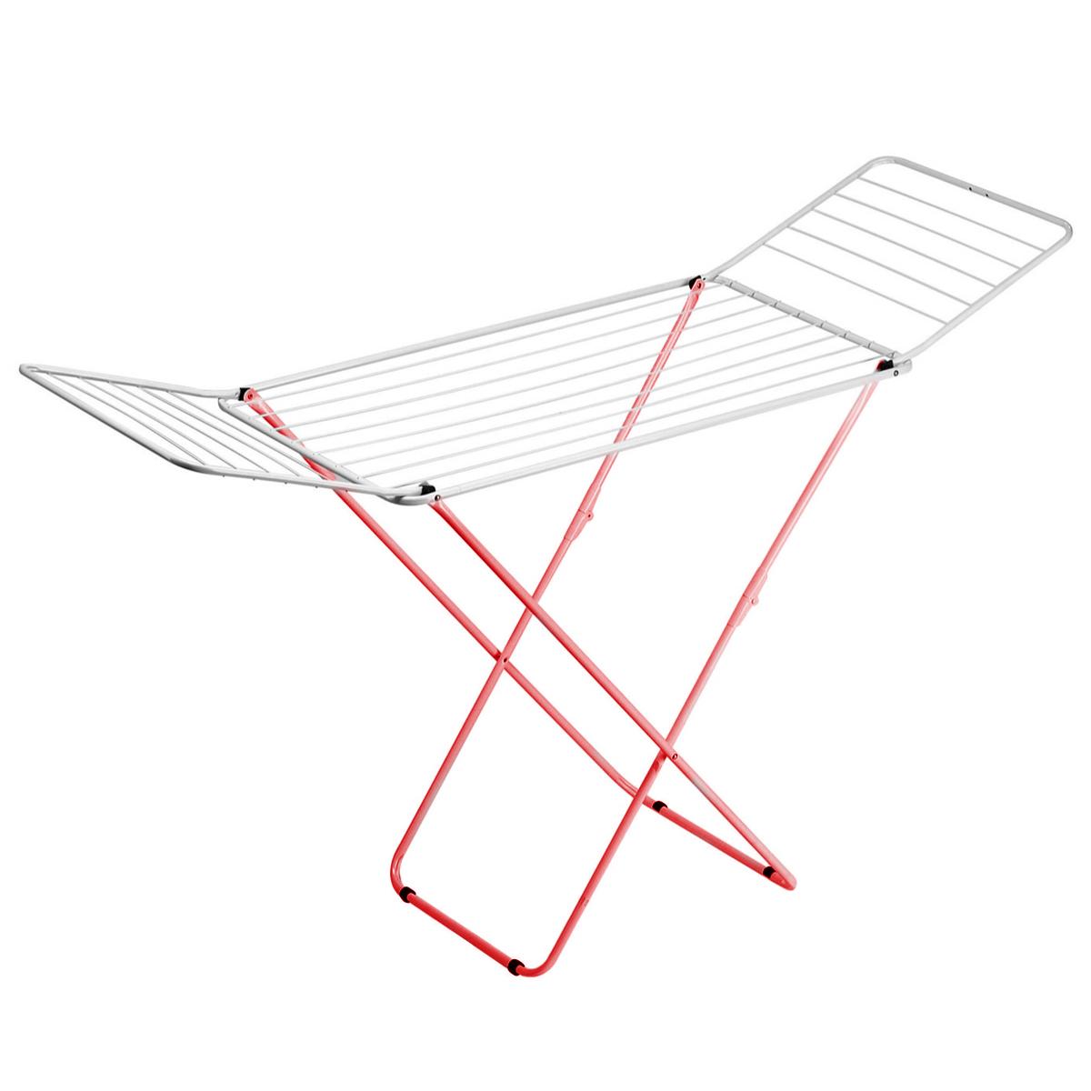Сушилка для белья Gimi Top, напольная, цвет: белый, красный, 199 см х 55 см х 93 см1079000000030Напольная сушилка для белья Gimi Top проста и удобна в использовании, компактно складывается, экономя место в вашей квартире. Сушилку можно использовать на балконе или дома. Общая длина реек сушилки составляет 20 метров, они выдерживают 2 стандартные загрузки стиральной машины после стирки и отжима. Также сушилка имеет дополнительный держатель для маленьких вещей (носки, платки, перчатки и тому подобное).