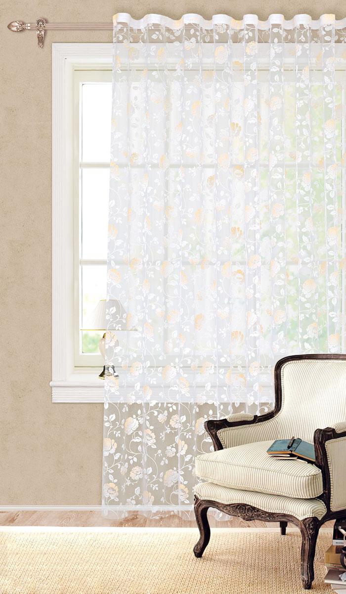 Штора готовая для гостиной Garden, на ленте, цвет: желтый, размер 300*280 см. С 2161 - W260 V10С 2161 - W260 V10Готовая тюлевая штора для гостиной Garden выполнена из органзы (100% полиэстер) с изящным цветочным принтом. Полупрозрачность материала, вуалевая текстура и нежная цветовая гамма привлекут к себе внимание и органично впишутся в интерьер комнаты. Штора крепится на карниз при помощи ленты, которая поможет красиво и равномерно задрапировать верх. Штора Garden великолепно украсит любое окно. Стирка при температуре 30°С.