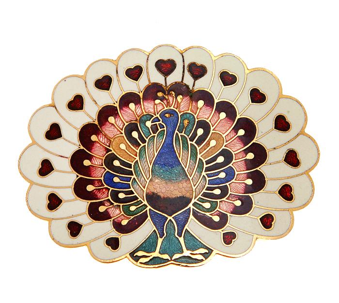 Пряжка Птица дивная. Бижутерный сплав, эмаль, техника клуазоне. США, 1970-е годыPD0168Пряжка Птица дивная. Бижутерный сплав, эмаль, техника клуазоне. США, 1970-е годы. Размер 5 х 3,5 см. Сохранность очень хорошая.