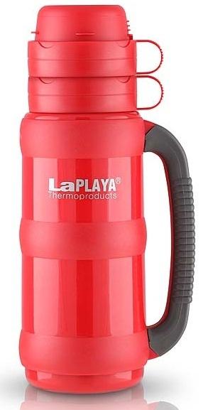 Термос LaPlaya Traditional 35, цвет: красный, 1 л560008Термос LaPlaya Traditional 35 предназначен для супов, горячих и охлажденных напитков. Корпус термоса изготовлен из высококачественного пластика. Внутри термос имеет прочную и надежную стеклянную колбу, которая сохраняет тепло 8 часов, холод - 24 часа. Термос оснащен удобной крышкой, которая разъединяется и может использоваться как две полноразмерные чашки с ручкой. Термос имеет завинчивающуюся пробку, которая служит контейнером для сахара, пакетика чая, кофе, сухого молока. Прорезиненная ручка термоса обеспечивает надежный захват. Объем термоса: 1 л. Высота термоса: 33 см. Диаметр (по верхнему краю): 7 см. Диаметр основания: 10 см. Время сохранения тепла: 8 ч. Время сохранения холода: 24 ч.