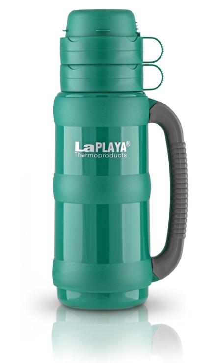Термос LaPlaya Traditional 35, цвет: зеленый, 1 л560009Термос LaPlaya Traditional 35 предназначен для супов, горячих и охлажденных напитков. Корпус термоса изготовлен из высококачественного пластика. Внутри термос имеет прочную и надежную стеклянную колбу, которая сохраняет тепло 8 часов, холод - 24 часа. Термос оснащен удобной крышкой, которая разъединяется и может использоваться как две полноразмерные чашки с ручкой. Термос имеет завинчивающуюся пробку, которая служит контейнером для сахара, пакетика чая, кофе, сухого молока. Прорезиненная ручка термоса обеспечивает надежный захват. Высота термоса: 33 см. Диаметр (по верхнему краю): 7 см. Диаметр основания: 10 см.