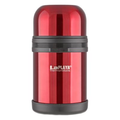 Термос LaPlaya Traditional, цвет: красный, 800 мл560043Термос LaPlaya Traditional оснащен двойными стенками с вакуумной изоляцией, которая позволяет сохранять напитки горячими и холодными длительное время. Легкий небьющийся корпус изготовлен из высококачественной нержавеющей стали. Широкая герметичная комбинированная пробка позволяет использовать термос для первых и вторых блюд при полном открывании и для напитков - при вывинчивании внутренней части. Изделие оснащено дополнительной пластиковой чашкой. Откидная ручка и съемный ремень позволяют удобно переносить термос. Термос LaPlaya Traditional идеален для вторых блюд, супов и напитков. Диаметр горлышка: 7,5 см. Высота термоса: 20 см.