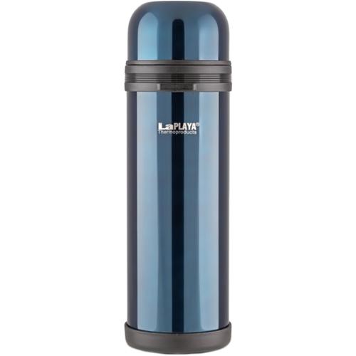 Термос LaPlaya Traditional, цвет: темно-синий, 1,8 л560048Термос LaPlaya Traditional изготовлен из нержавеющей стали 18/8 и пластика. В этом термосе применена система высококачественной вакуумной изоляции. Термос помогает сохранить температуру в течение 8 часов для горячих напитков и 24 часов для холодных. Широкая герметичная комбинированная пробка позволяет использовать термос для первых и вторых блюд при полном открывании и для напитков - при вывинчивании внутренней части. Крышку термоса можно использовать как кружку. Изделие оснащено дополнительной пластиковой чашкой. Откидная ручка и съемный ремень позволяют удобно переносить термос. Высота термоса (с крышкой): 35 см. Диаметр горлышка: 7,5 см. Объем кружки: 350 мл. Высота кружки: 6 см. Диаметр кружки: 10 см. Объем пластиковой чашки: 200 мл. Высота пластиковой чашки: 4 см. Диаметр пластиковой чашки: 9,3 см.