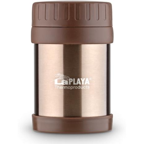 Термос для еды LaPlaya Food Container, цвет: коричневый, 350 мл560082Корпус термоса LaPlaya Food Container изготовлен из высококачественной нержавеющей стали с двумя стенками. Термос оснащен крышкой, благодаря которой сохраняется абсолютная герметичность. Изделие имеет большое горлышко, поэтому идеально подходит для салатов, закусок, первых и вторых блюд. Такой термос удобен в использовании и станет полезным подарком. Диаметр (по верхнему краю): 8 см. Диаметр основания: 8,5 см. Высота (с учетом крышки): 13,5 см.