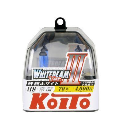 Комплект галогеновых ламп Koito Whitebeam H8, 12V, 35W, 4000 К, 2 штKOITO Лампа автомобильная P0758WЯпонская компания KOITO - мировой лидер по производству автомобильных ламп и оптики. Компания основана в 1915 году и в настоящее время входит в корпорацию TOYOTA GROUP и имеет представительства и совместные предприятия по всему миру. Продукция KOITO широко применяется не только для автомобилей, но и для железнодорожных подвижных составов, авиационного и морского транспорта. Компания KOITO выпускает все разновидности лампочек, начиная от ламп головного света и заканчивая подсветкой салона и приборов, для абсолютно всех моделей японских автомобилей и мотоциклов. Компания KOITO выпускает все разновидности ламп и предохранителей для всех моделей японских автомобилей, а также широкий ассортимент для европейских и американских автомобилей. В ассортименте KOITO есть как лампы стандартной комплектации, так и лампы особых серий, таких как VWHITE и WHITEBEAM. Лампы особых серий VWHITE и WHITEBEAM обеспечивают удвоенную яркость при стандартной мощности. Эти лампы соответствуют всем нормам и...