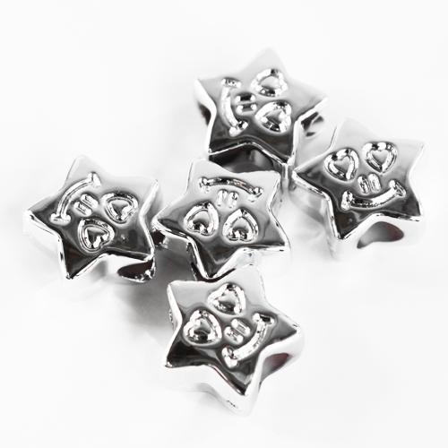 Бусины Астра, цвет: серебристый, 12 мм х 12 мм, 15 шт. 77056677705667Набор бусин Астра, изготовленный из пластика, позволит вам своими руками создать оригинальные ожерелья, бусы или браслеты. Бусины выполнены в виде улыбающихся звездочек. Изготовление украшений - занимательное хобби и реализация творческих способностей рукодельницы, это возможность создания неповторимого индивидуального подарка.