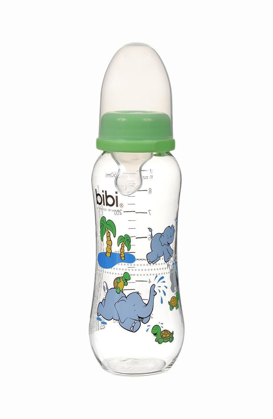 """Бутылочка для кормления """"Bibi"""", с силиконовой соской, от 0 месяцев, цвет: салатовый, 250 мл"""