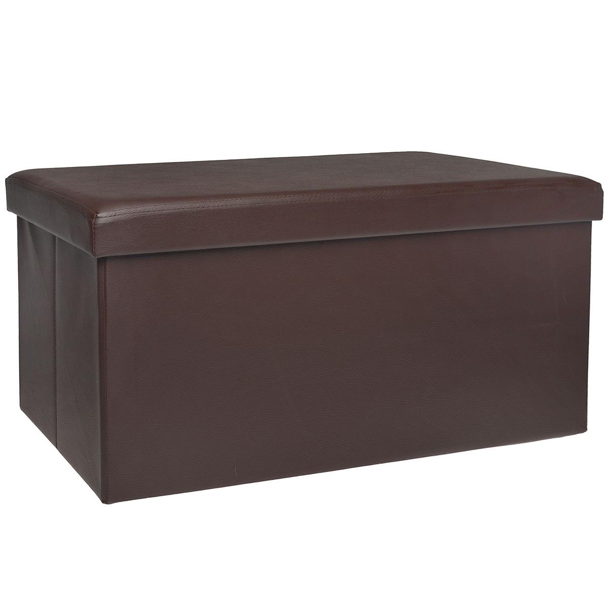 Пуфик Hausmann, с отделением для хранения, цвет: коричневый, 76 x 38 x 38 см4A-211-1Пуфик Hausmann- это очень удобная система хранения вещей в виде пуфика (стульчик), выдерживающего до 200 кг. Пуфик выполнен из МДФ и обтянут одноцветной искусственной кожей. Для мягкого сидения верхняя часть набита поролоном. Такой пуфик станет оригинальным объектом интерьера вашей прихожей или комнаты.