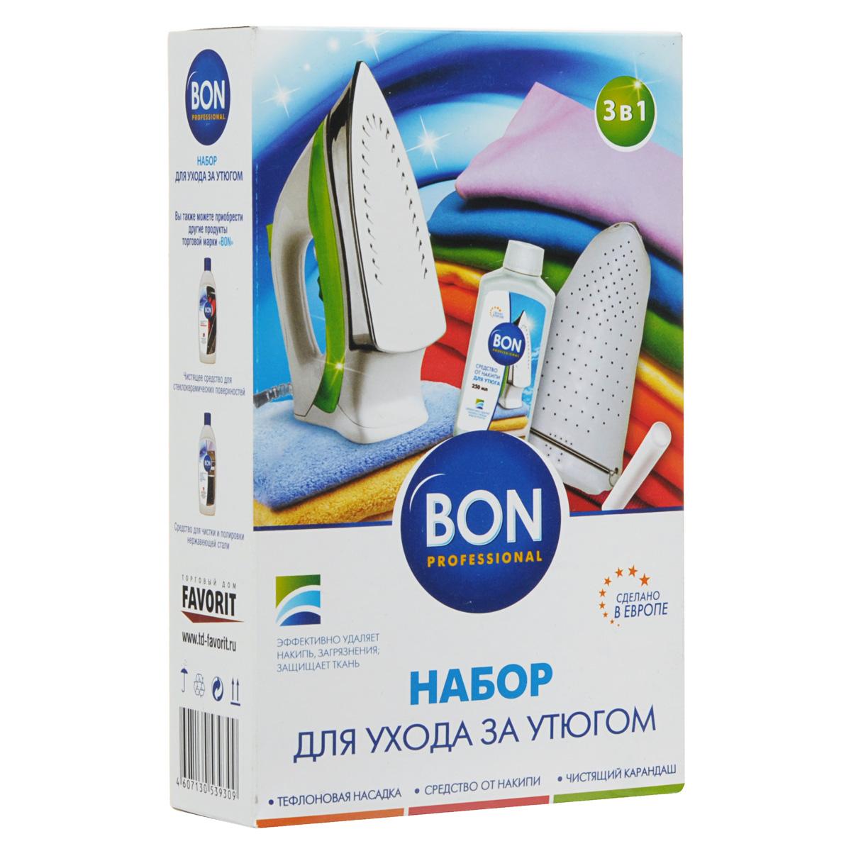 Набор для ухода за утюгом и деликатными тканями Bon, 3 предметаBN-1011Набор для ухода за утюгом и деликатными тканями Bon состоит из тефлоновой насадки, чистящего карандаша и средства от накипи. Тефлоновая насадка подходит для всех типов утюгов, защищает шелковые, синтетические, шерстяные и другие виды деликатных тканей от пятен и накипи от отпаривания. Защищает подошву утюга от загрязнений и механических повреждений, царапин от металлической фурнитуры, облегчает процесс глажения. Чистящий карандаш очищает подошву утюга от загрязнений, не царапает поверхность, улучшает скольжение ткани. Подходит для всех типов покрытий, незаменим для утюгов с тефлоновой подошвой. Специальное средство от накипи эффективно удаляет накипь и известковые отложения на нагревательных элементах утюгов. Защищает и улучшает их работу. Набор специально разработан для ухода за утюгом. Размер тефлоновой насадки: 24,5 см х 16 см х 0,5 см. Длина чистящего карандаша: 9,5 см. Объем средства от накипи: 250 мл. Состав: 5% неанионные ПАВ,...
