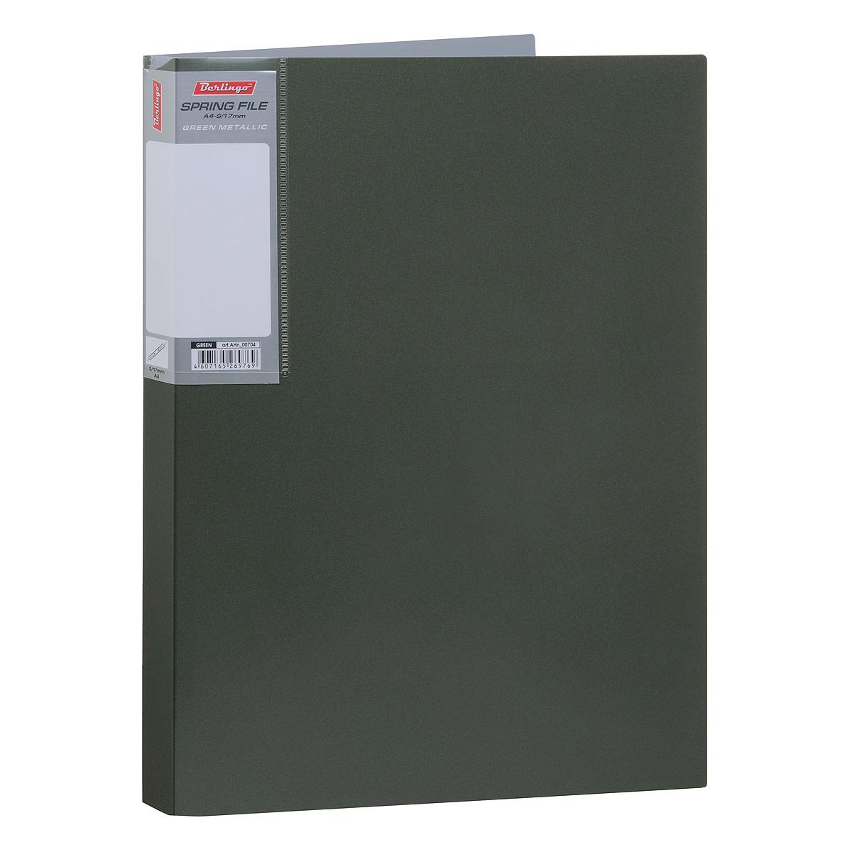 Папка-скоросшиватель Berlingo Metallic, цвет: темно-зеленый. Формат А4AHn_00704Папка-скоросшиватель Berlingo Metallic - это удобный и практичный офисный инструмент, предназначенный для бережного хранения и транспортировки перфорированных рабочих бумаг и документов формата А4. Папка изготовлена из плотного пластика толщиной 0,8 см, оснащена металлическим пружинным скоросшивателем и внутренним прозрачным карманом, а также дополнена кармашком на корешке со съемной этикеткой для маркировки. Папка-скоросшиватель надежно сохранит ваши документы и сбережет их от повреждений, пыли и влаги.