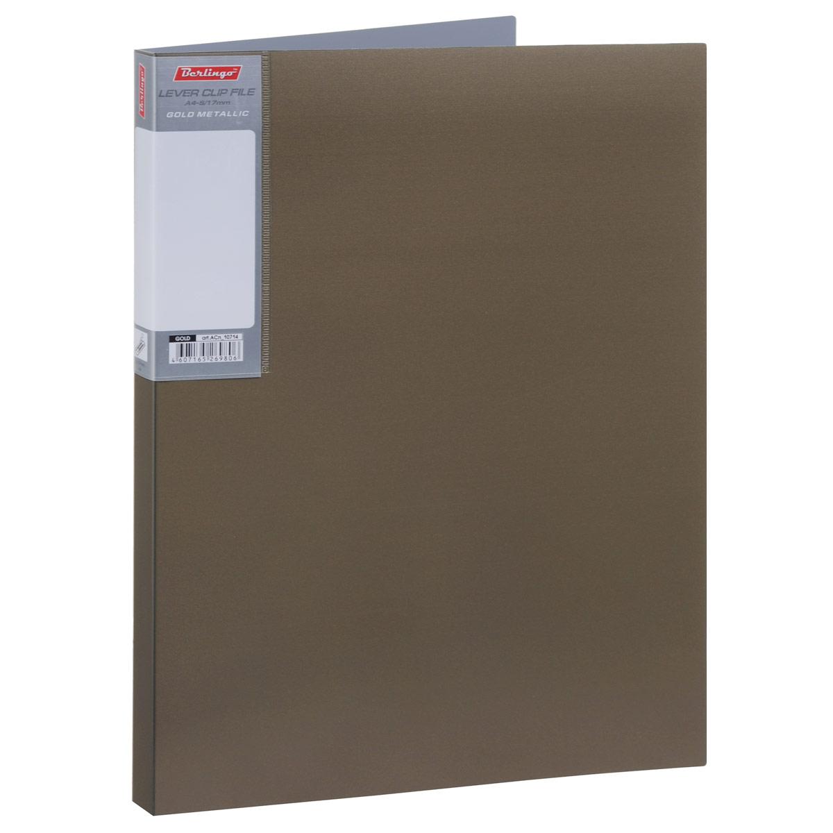 Папка с боковым зажимом Berlingo Metallic, цвет: золотистый. Формат А4ACn_10714Папка Berlingo Metallic - это удобный и практичный офисный инструмент, предназначенный для бережного хранения и транспортировки без перфорации рабочих бумаг и документов формата А4. Папка изготовлена из плотного пластика толщиной 0,8 см, оснащена не повреждающим бумагу металлическим прижимным механизмом и внутренним прозрачным кармашком, а также дополнена кармашком на корешке со съемной этикеткой для маркировки. Папка надежно сохранит ваши документы и сбережет их от повреждений, пыли и влаги.