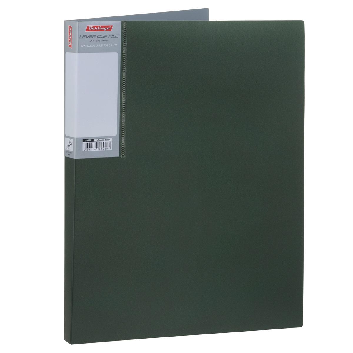 Berlingo Папка с боковым зажимом Metallic цвет темно-зеленыйACn_10704Папка Berlingo Metallic - это удобный и практичный офисный инструмент, предназначенный для бережного хранения и транспортировки без перфорации рабочих бумаг и документов формата А4. Папка изготовлена из плотного пластика толщиной 0,8 см, оснащена не повреждающим бумагу металлическим прижимным механизмом и внутренним прозрачным кармашком, а также дополнена кармашком на корешке со съемной этикеткой для маркировки. Папка надежно сохранит ваши документы и сбережет их от повреждений, пыли и влаги.