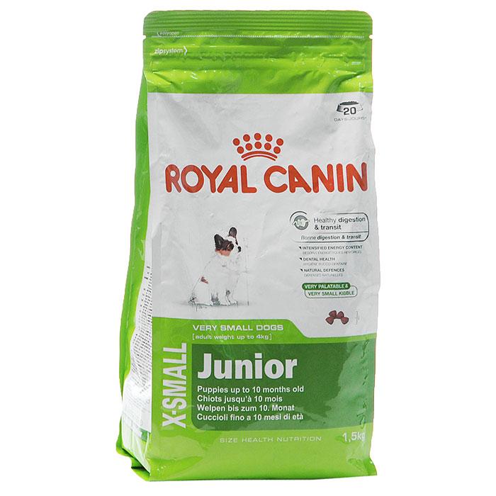 Корм сухой Royal Canin X-Small Junior, для щенков миниатюрных размеров от 2 до 10 месяцев, 500 г314005Сухой корм Royal Canin X-small Junior является полнорационным кормом для щенков очень мелких собак (вес взрослой собаки до 4 кг) в возрасте до 10 месяцев. Период роста у собак миниатюрных размеров краток, но интенсивен, и именно в это время закладывается основа будущего здоровья. Всего за 7-8 недель с момента рождения вес щенка увеличивается в 10 раз! Чтобы обеспечить собаке наилучшее качество жизни, важно с самого начала использовать сбалансированный рацион питания, учитывающий особые потребности щенка. Максимальная защита пищеварительной системы main_benefit-300.pngЭксклюзивная комбинация питательных веществ для оптимальной безопасности пищеварительной системы(белки L.I.P.) и баланса кишечной флоры, а также для поддержания оптимальной консистенции стула у щенков. Высокое содержание энергии. Удовлетворяет энергетические потребности щенков собак миниатюрных размеров в период роста. Обладает высокой вкусовой привлекательностью. Здоровье зубов. ...
