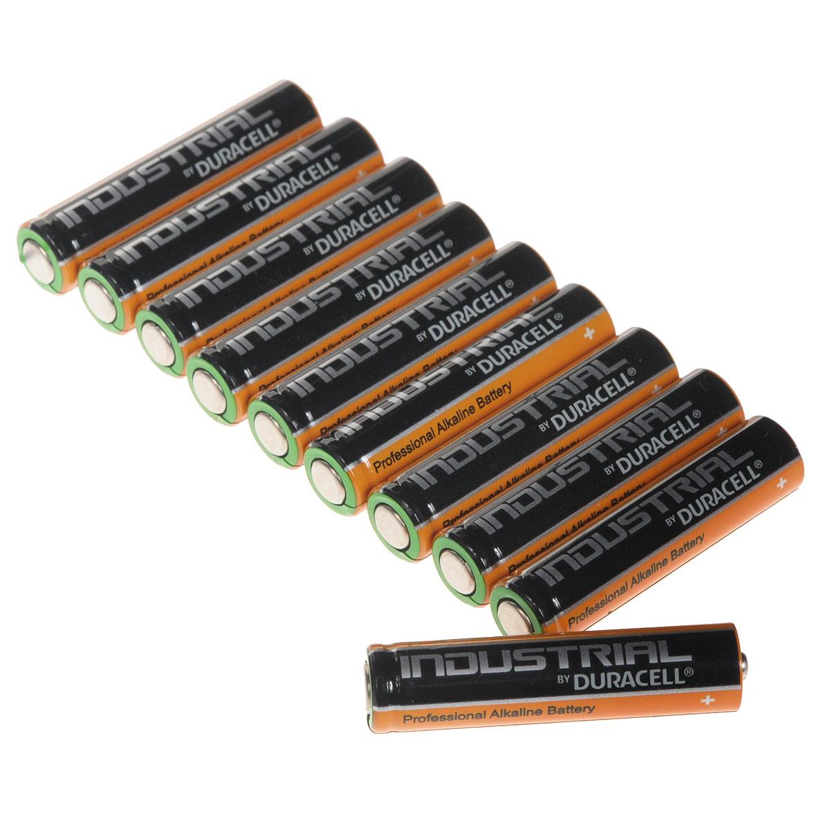 Набор алкалиновых батареек Duracell Industrial, тип AAA, 10 штPRC-81481943Набор алкалиновых батареек Duracell Industrial предназначен для использования в различных электронных устройствах небольшого размера, например в пультах дистанционного управления, портативных MP3-плеерах, фотоаппаратах, различных беспроводных устройствах.
