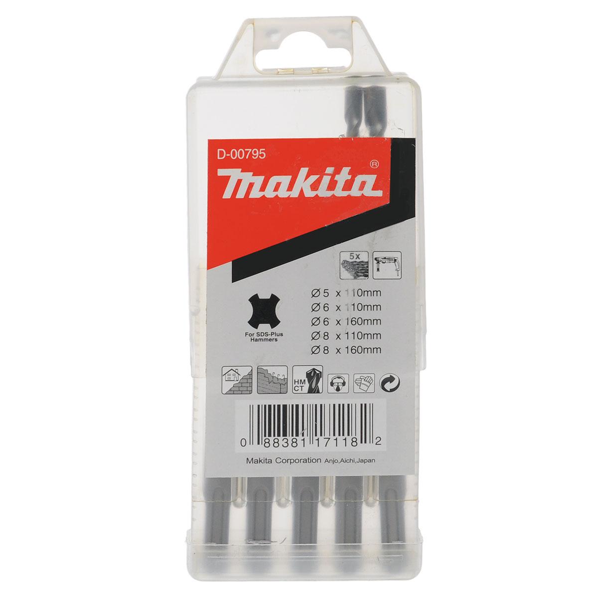 Набор буров Makita, 5 шт153679Набор буров используются для просверливания отверстий в твердом материале (бетонная стена, кирпичная кладка и т.д.). Хвостовик SDS-plus. В набор входят 5 буров разного диаметра и длины: 5 мм х 110 мм, 6 мм х 110 мм, 6 мм х 160 мм, 8 мм х 110 мм, 8 мм х 160 мм.