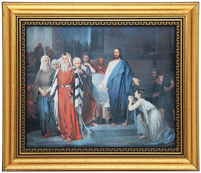 Репродукция Христос и блудница. Фарфор, цветная печать. Россия, конец XX века