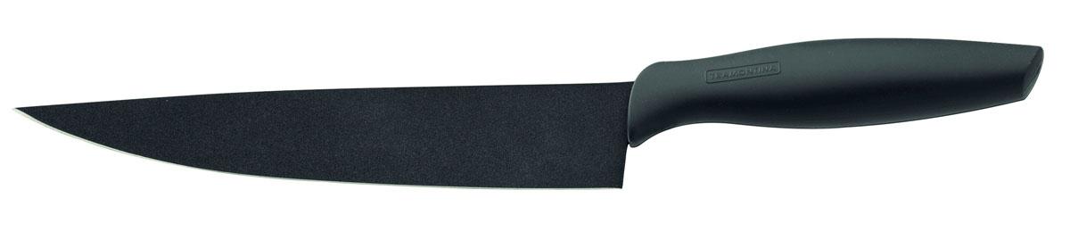 Нож Onix поварской, 20 см23825/068-TRПоварской нож Tramontina Onix изготовлен из долговечной антикоррозийной стали. Четырехслойное покрытие Starflon High Perfomance с керамической основой защищает лезвие от ржавчины, делает чистку ножа легче и позволяет более легко нарезать различные продукты. Прорезиненная ручка не требует сильного нажима, обладает отличной эргономикой, обеспечивает легкость в обращении. Антибактериальная защита Microban, препятствующая образованию неприятного запаха и пятен, вызванных бактериями, плесневым грибком и налетом. Оригинальный современный дизайн. Можно мыть в посудомоечной машине.