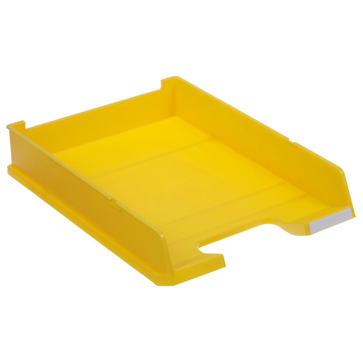 Лоток для бумаг горизонтальный HAN C4, цвет: желтыйHA1020/15Горизонтальный лоток для бумаг HAN C4 предназначен для хранения бумаг и документов формата А4. Лоток с оригинальным дизайном корпуса поможет вам навести порядок на столе и сэкономить пространство. Лоток изготовлен из экологически чистого непрозрачного антистатического пластика. Приподнятая фронтальная часть лотка облегчает изъятие документов из накопителя. Лоток имеет пластиковые ножки, предотвращающие скольжение по столу. Также лоток оснащен небольшим прозрачным окошком для этикетки. Лоток для бумаг станет незаменимым помощником для работы с бумагами дома или в офисе, а его стильный дизайн впишется в любой интерьер. Благодаря лотку для бумаг, важные бумаги и документы всегда будут под рукой. Несколько лотков можно ставить друг на друга, один в другой и друг на друга со смещением.