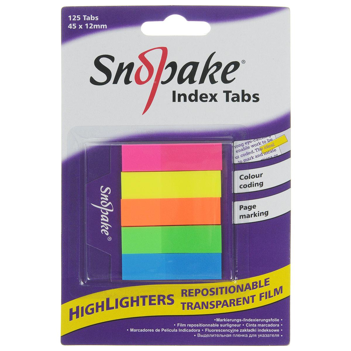 Закладка самоклеящаяся Snopake Index Tab, 4,5 см х 1,2 см, 125 штK13154Самоклеящаяся закладка Index Tab станет вашим верным помощником дома и в офисе, и пригодится не только любителям чтения, но и тем, кто работает с большими объемами документов. Яркие закладки розового, желтого, оранжевого, зеленого и синего цветов позволяют не только отметить или выделить нужное место в книге или документе, но и снабдить его своими записями. Закладки совершенно прозрачны и не закрывают текст и могут применяться как безопасная для бумаги альтернатива маркерам- выделителям. Уникальный клеевой состав, нанесенный на закладку, позволяет многократно переклеивать ее, не повреждая при этом страницу. В комплект входят 125 закладок. Самоклеящаяся закладка Index Tab станет практичным офисным или домашним инструментом и поможет вам упорядочить информацию, не повреждая бумагу.
