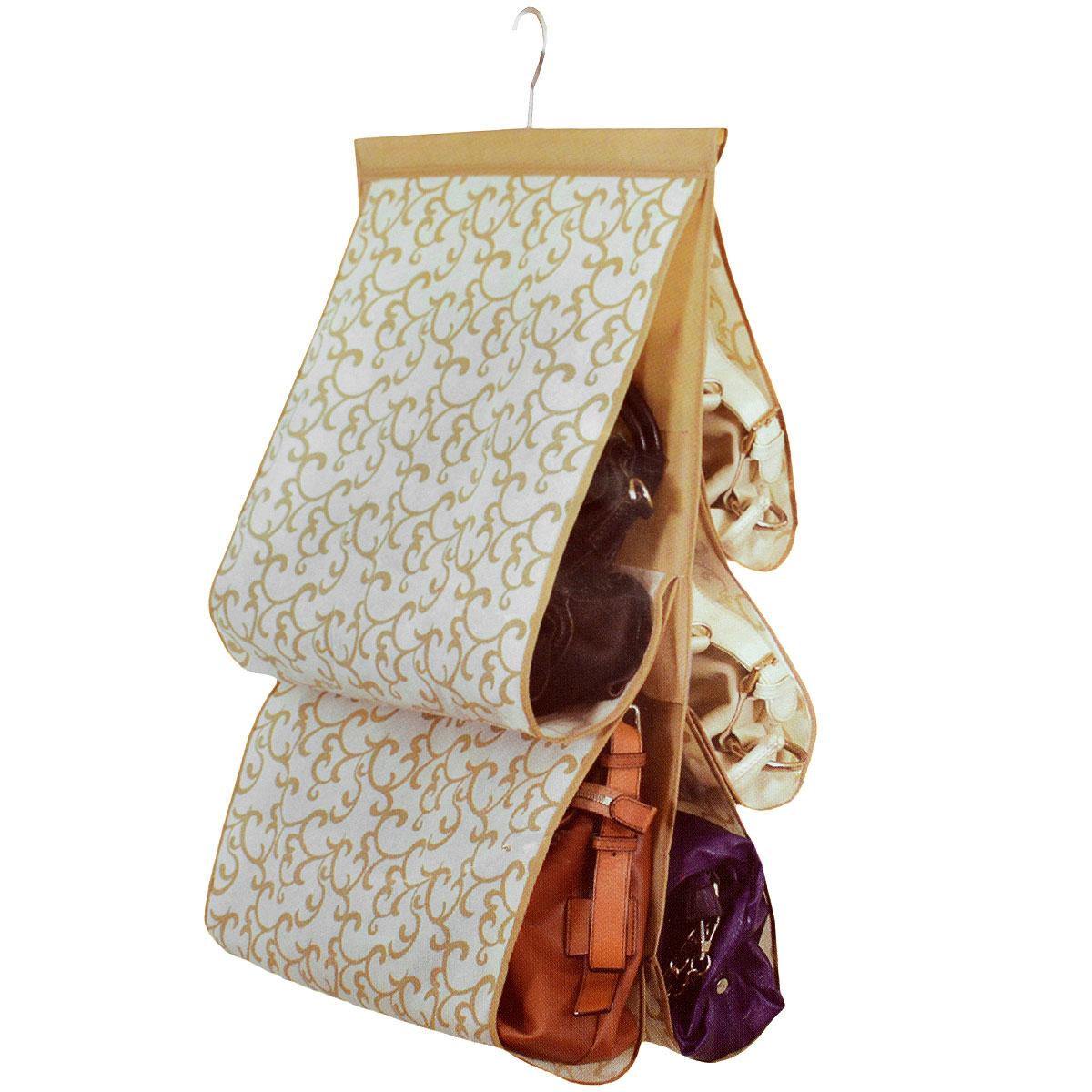 Чехол для хранения сумок Hausmann, 42 х 72 см3A-34272PЧехол для хранения сумок Hausmann изготовлен из полиэстера. Чехол имеет 5 отделений. Чехол можно повесить в удобное место за крючок, который крепиться к деревянной перекладине. Чехол для хранения сумок Hausmann экономит место в шкафу и сохраняет порядок в доме. Практичный и удобный чехол для хранения сумок.
