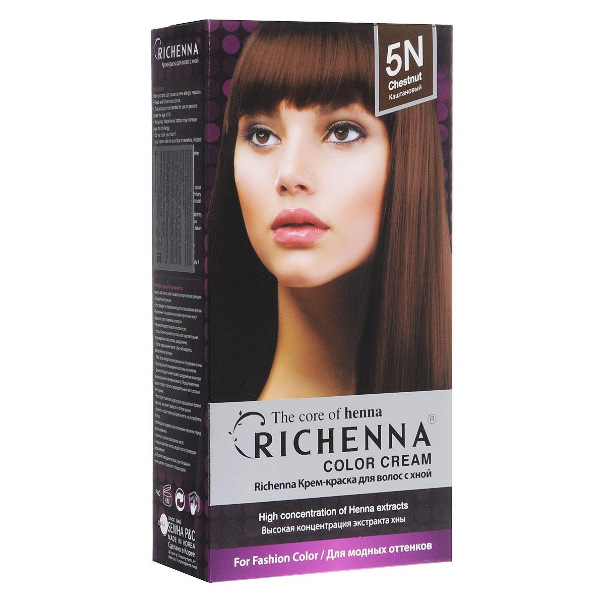 Richenna Крем-краска для волос, с хной, оттенок 5N, Каштановый08903