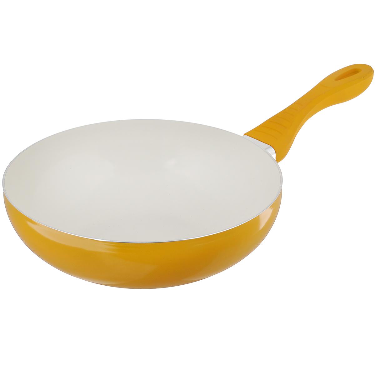 Сковорода-вок Mayer & Boch, с керамическим покрытием, цвет: желтый. Диаметр 28 см. 2224222242Сковорода Вок Mayer & Boch изготовлена из литого алюминия с высококачественным керамическим покрытием. Керамика не содержит вредных примесей ПФОК, что способствует здоровому и экологичному приготовлению пищи. Кроме того, с таким покрытием пища не пригорает и не прилипает к стенкам, поэтому можно готовить с минимальным добавлением масла и жиров. Гладкая, идеально ровная поверхность сковороды легко чистится, ее можно мыть в воде руками или вытирать полотенцем. Эргономичная ручка специального дизайна выполнена из силикона. Сковорода подходит для использования на газовых и электрических плитах. Также изделие можно мыть в посудомоечной машине.