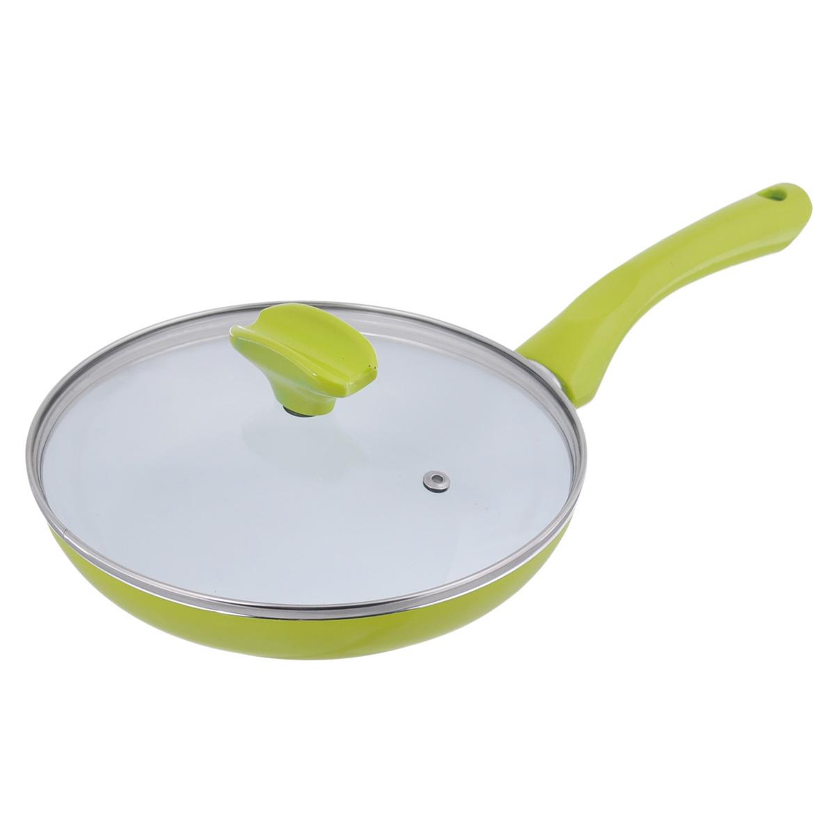 Сковорода Bekker Koch с крышкой, с керамическим покрытием, цвет: зеленый. Диаметр 22 см. BK-3713BK-3713Сковорода Bekker Koch изготовлена из алюминия с внутренним антипригарным керамическим покрытием Cera Green. Благодаря этому пища не пригорает и не прилипает к стенкам. Готовить можно с минимальным количеством масла и жиров. Гладкая поверхность обеспечивает легкость ухода за посудой. Внешнее покрытие - цветной жаростойкий лак. Изделие оснащено удобной бакелитовой ручкой, которая не нагревается в процессе готовки. Крышка изготовлена из термостойкого стекла, оснащена ободом из нержавеющей стали, ручкой и пароотводом. Такая крышка позволяет следить за процессом приготовления пищи без потери тепла. Она плотно прилегает к краю посуды, сохраняя аромат блюд. Сковорода подходит для использования на всех типах кухонных плит, кроме индукционных. Можно мыть в посудомоечной машине.