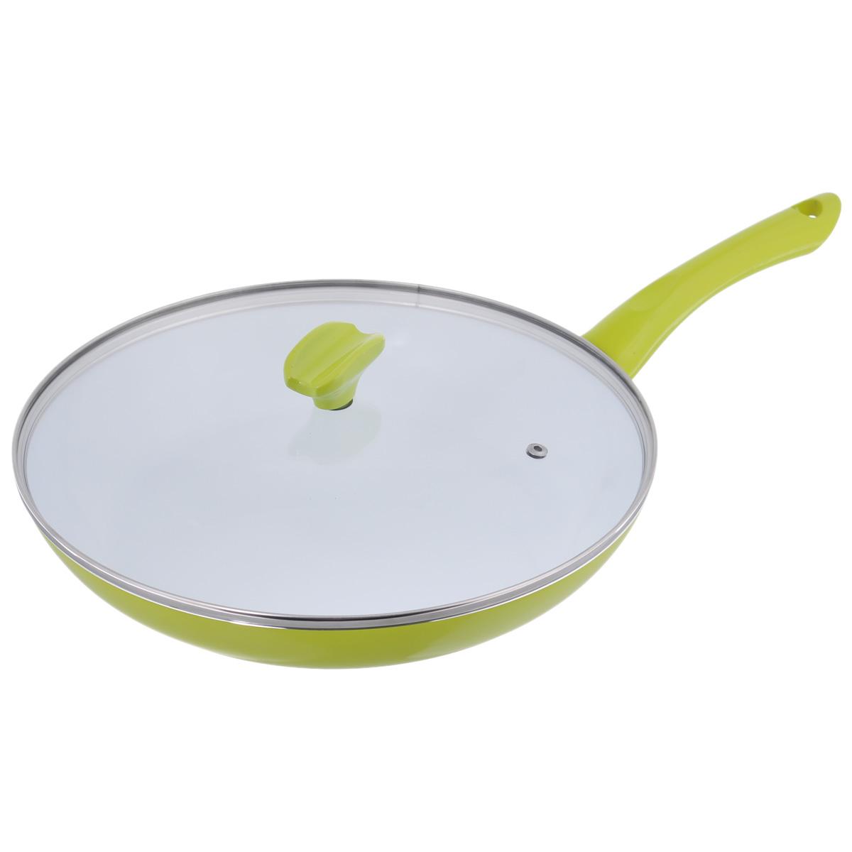 Сковорода Bekker Koch с крышкой, с керамическим покрытием, цвет: зеленый. Диаметр 30 см. BK-3720BK-3720Сковорода Bekker Koch изготовлена из алюминия с внутренним антипригарным керамическим покрытием Cera Green. Благодаря этому пища не пригорает и не прилипает к стенкам. Готовить можно с минимальным количеством масла и жиров. Гладкая поверхность обеспечивает легкость ухода за посудой. Внешнее покрытие - цветной жаростойкий лак. Изделие оснащено удобной бакелитовой ручкой, которая не нагревается в процессе готовки. Крышка изготовлена из термостойкого стекла, оснащена ободом из нержавеющей стали, ручкой и пароотводом. Такая крышка позволяет следить за процессом приготовления пищи без потери тепла. Она плотно прилегает к краю посуды, сохраняя аромат блюд. Сковорода подходит для использования на всех типах кухонных плит, кроме индукционных. Можно мыть в посудомоечной машине.