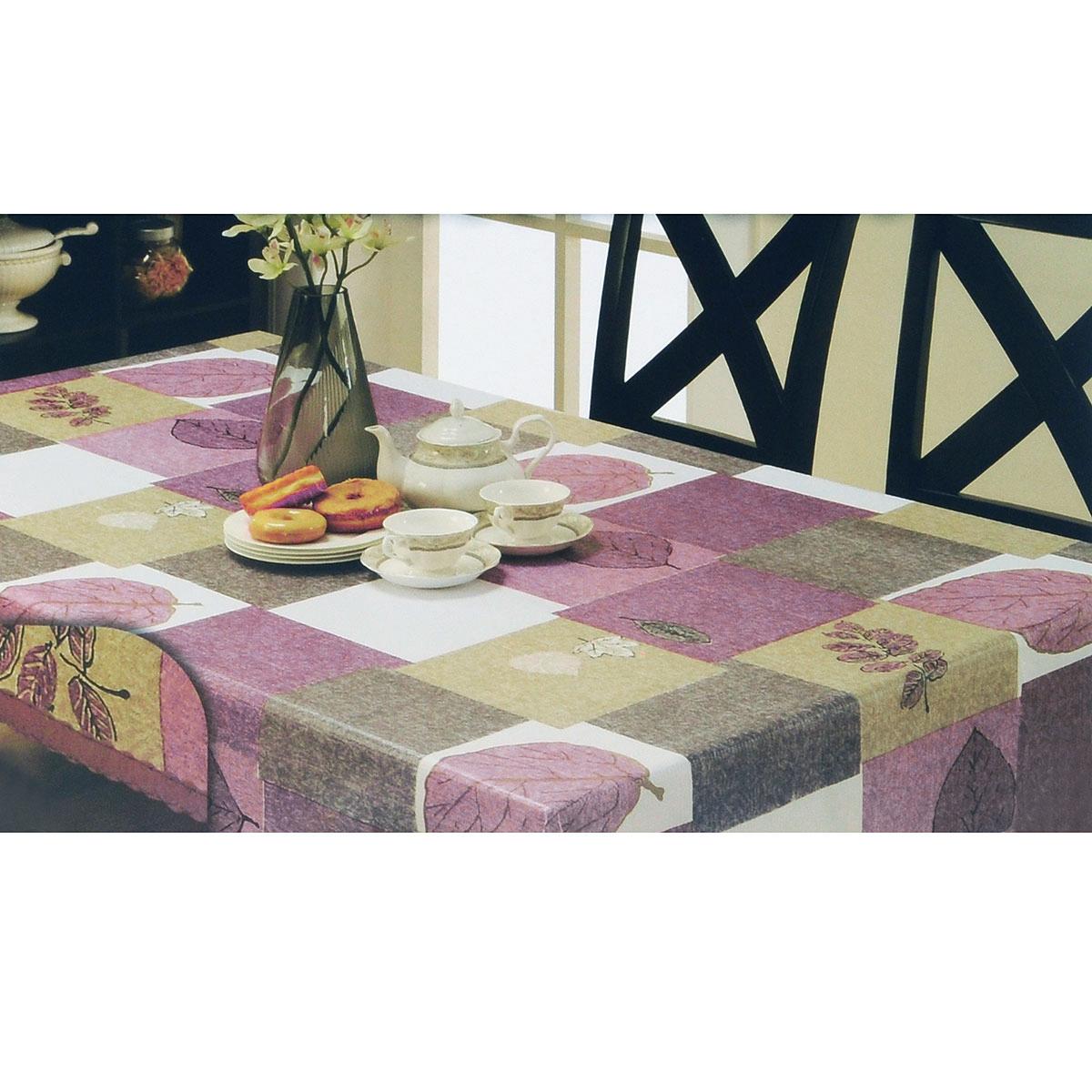 Скатерть White Fox Лист, круглая, цвет: сиреневый, серый, диаметр 152 смWКTC72-263Круглая скатерть White Fox Лист, выполненная из ПВХ с основой из флиса, предназначена для защиты стола от царапин, пятен и крошек. Край скатерти обработан строчкой. Скатерть оформлена изображением листочков, а рифлёная поверхность формирует приятные тактильные ощущения, при этом частички пищи удаляются с легкостью и поверхность остается всегда чистой. Скатерть термостойкая, выдерживает температуру до +70 °C. Скатерть White Fox проста в уходе - её можно протирать любыми моющими средствами при необходимости. Скатерть упакована в виниловый пакет с внутренним цветным вкладышем и подвесом в виде крючка.