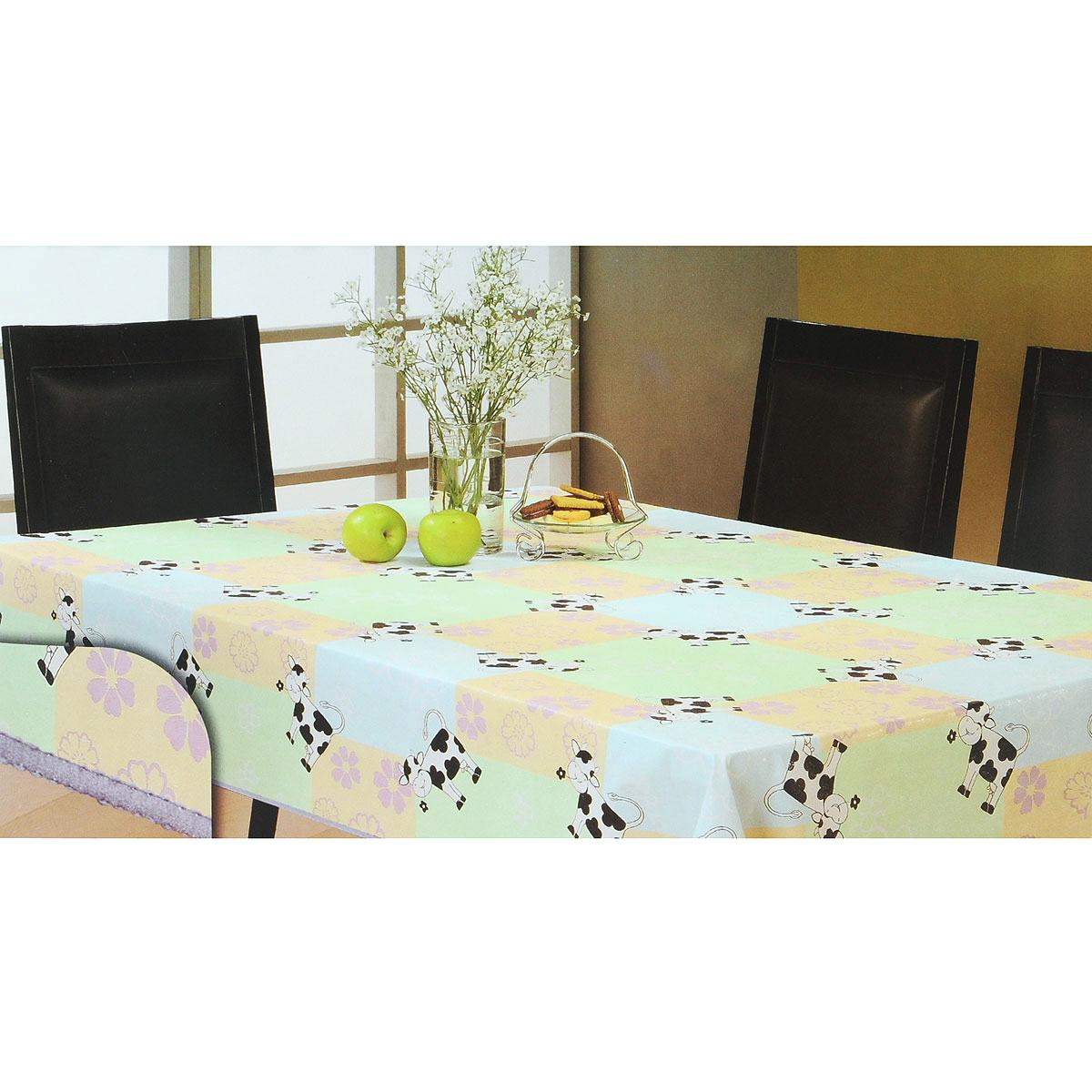Скатерть White Fox Буренка, прямоугольная, цвет: голубой, светло-зеленый, 152 x 228 смWКTC72-270Прямоугольная скатерть White Fox Буренка, выполненная из ПВХ с основой из флиса, предназначена для защиты стола от царапин, пятен и крошек. Край скатерти обработан строчкой. Скатерть оформлена изображением милых коров, а рифлёная поверхность формирует приятные тактильные ощущения, при этом частички пищи удаляются с легкостью и поверхность остается всегда чистой. Скатерть термостойкая, выдерживает температуру до +70 °C. Скатерть White Fox проста в уходе - её можно протирать любыми моющими средствами при необходимости. Скатерть упакована в виниловый пакет с внутренним цветным вкладышем и подвесом в виде крючка.