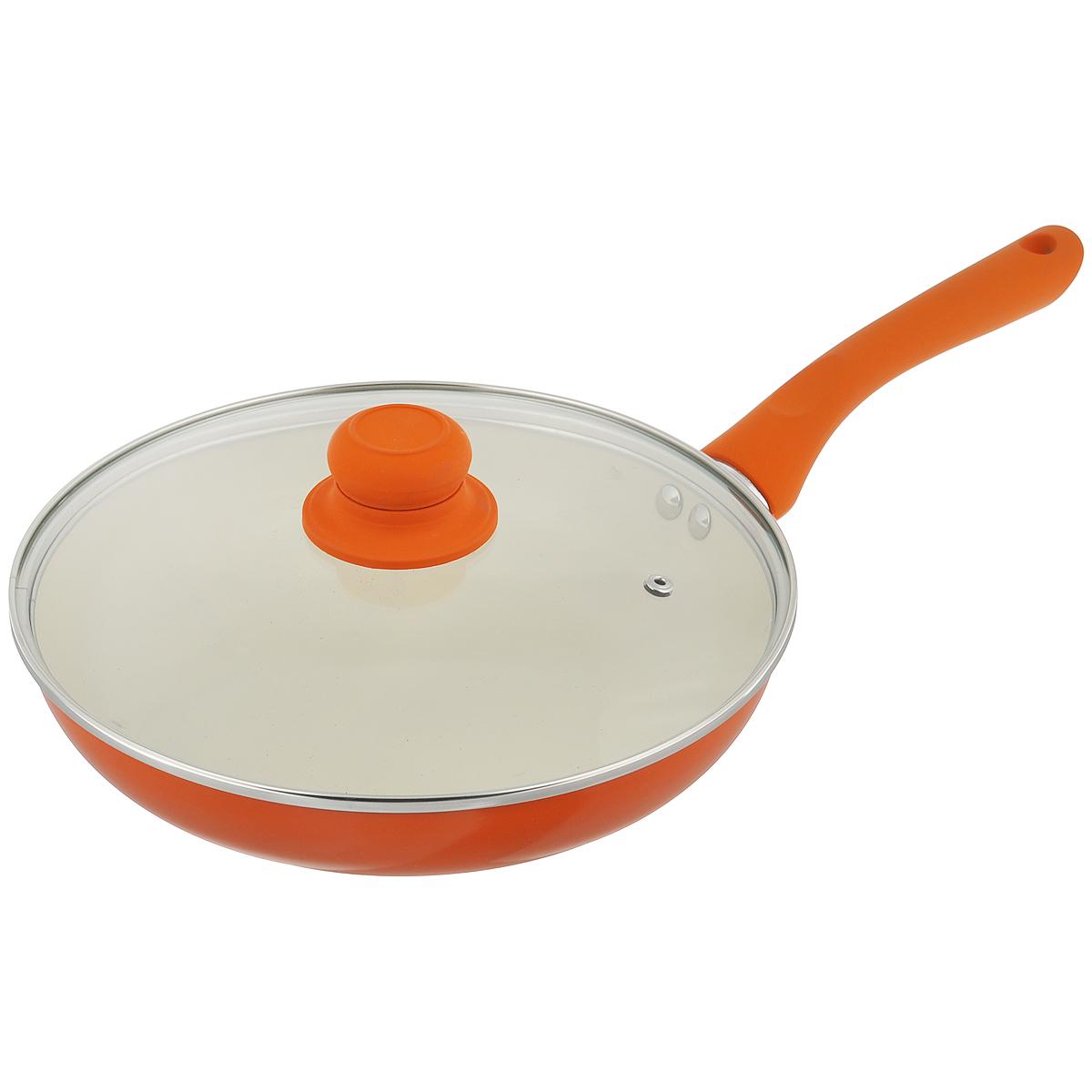 Сковорода Mayer & Boch с крышкой, с керамическим покрытием, цвет: оранжевый. Диаметр 26 см. 2227622276Сковорода Mayer & Boch изготовлена из алюминия с высококачественным керамическим покрытием. Керамика не содержит вредных примесей ПФОК, что способствует здоровому и экологичному приготовлению пищи. Кроме того, с таким покрытием пища не пригорает и не прилипает к стенкам, поэтому можно готовить с минимальным добавлением масла и жиров. Гладкая, идеально ровная поверхность сковороды легко чистится, ее можно мыть в воде руками или вытирать полотенцем. Эргономичная ручка специального дизайна выполнена из силикона. Сковорода оснащена крышкой из жаропрочного стекла с пароотводом. Сковорода подходит для использования на газовых и электрических плитах. Также изделие можно мыть в посудомоечной машине. Диаметр: 26 см. Высота стенки: 5 см. Толщина стенки: 2,3 мм. Толщина дна: 3 мм. Длина ручки: 17 см. Диаметр дна: 16,5 см.