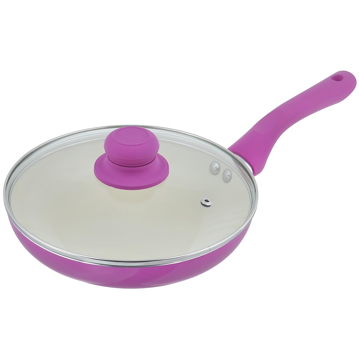 Сковорода Mayer & Boch с крышкой, с керамическим покрытием, цвет: фиолетовый. Диаметр 22 см. 2227422274Сковорода Mayer & Boch изготовлена из алюминия с высококачественным керамическим покрытием. Керамика не содержит вредных примесей ПФОК, что способствует здоровому и экологичному приготовлению пищи. Кроме того, с таким покрытием пища не пригорает и не прилипает к стенкам, поэтому можно готовить с минимальным добавлением масла и жиров. Гладкая, идеально ровная поверхность сковороды легко чистится, ее можно мыть в воде руками или вытирать полотенцем. Эргономичная ручка специального дизайна выполнена из силикона. Сковорода оснащена крышкой из жаропрочного стекла с пароотводом. Сковорода подходит для использования на газовых и электрических плитах. Также изделие можно мыть в посудомоечной машине.