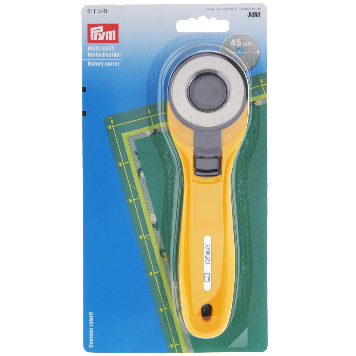 Раскройный нож Prym Maxi Easy, для ткани, диаметр 4,5 см611379Раскройный нож Prym Maxi Easy изготовлен из металла и пластика и оснащен вращающимся лезвием в прямом и обратном направлении, гарантируя чистый срез 4-8 слоев ткани. Специальный винт фокусировки поможет определить нужную скорость вращения лезвия. При работе с твердыми и толстыми материалами винт фокусировки подтянуть, при работе с мягкими и тонкими материалами - отпустить. Имеется защитная функция для безопасного хранения вне использования.
