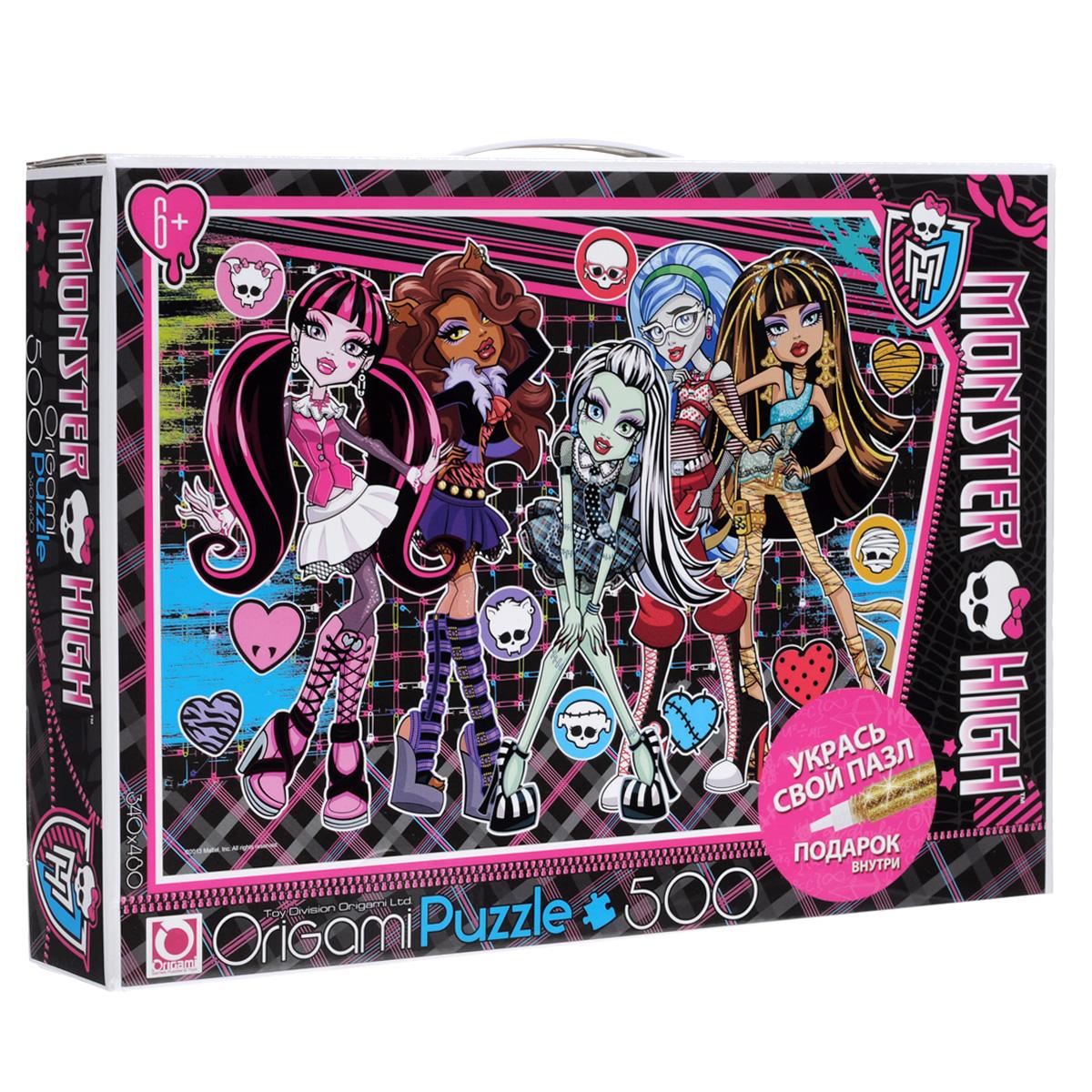 Monster High. Пазл, 500 элементов. 05489AST000000000144560Пазл Школа монстров (Monster High), без сомнения, придется по душе любой поклоннице одноименного мультсериала. Собрав этот пазл, включающий в себя 500 элементов , вы получите великолепную цветную картину с изображением главных героинь - Клео де Нил, Гулии Йелпс, Эбби Боминейбл, Клодин Вульф, Оперетты и Лагуны Блю. Также ребенок может проявить фантазию, и украсить собранный пазл рисунками с помощью входящего в набор золотистого маркера. Пазлы - прекрасное антистрессовое средство и замечательная развивающая игра для детей. Собирание пазла развивает у ребенка мелкую моторику рук, тренирует наблюдательность, логическое мышление, учит усидчивости и терпению, аккуратности и вниманию. Получившееся яркое изображение героинь мультфильма станет отличным украшением детской комнаты.