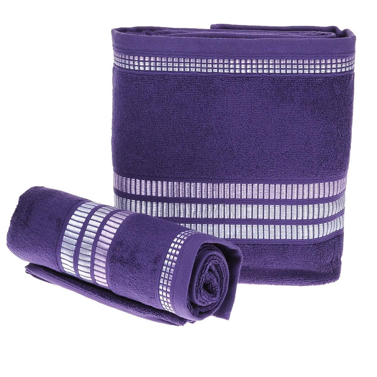 Набор махровых полотенец Coronet Пиано, цвет: темно-фиолетовый, 100x150, 50x90-100% хлопокБ-МП-2020-15-12-кПодарочный набор Coronet Пиано состоит из двух полотенец разного размера, выполненных из натуральной махровой ткани. Полотенца украшены изящным декоративным теснением. Мягкие и уютные, они прекрасно впитывают влагу и легко стираются. Такой набор подарит вам мягкость и необыкновенный комфорт в использовании. Благодаря высокому качеству изготовления, полотенце будет радовать многие годы. Полотенца упакованы в подарочную коробку и станут приятным и полезным подарком вашим друзьям и близким.