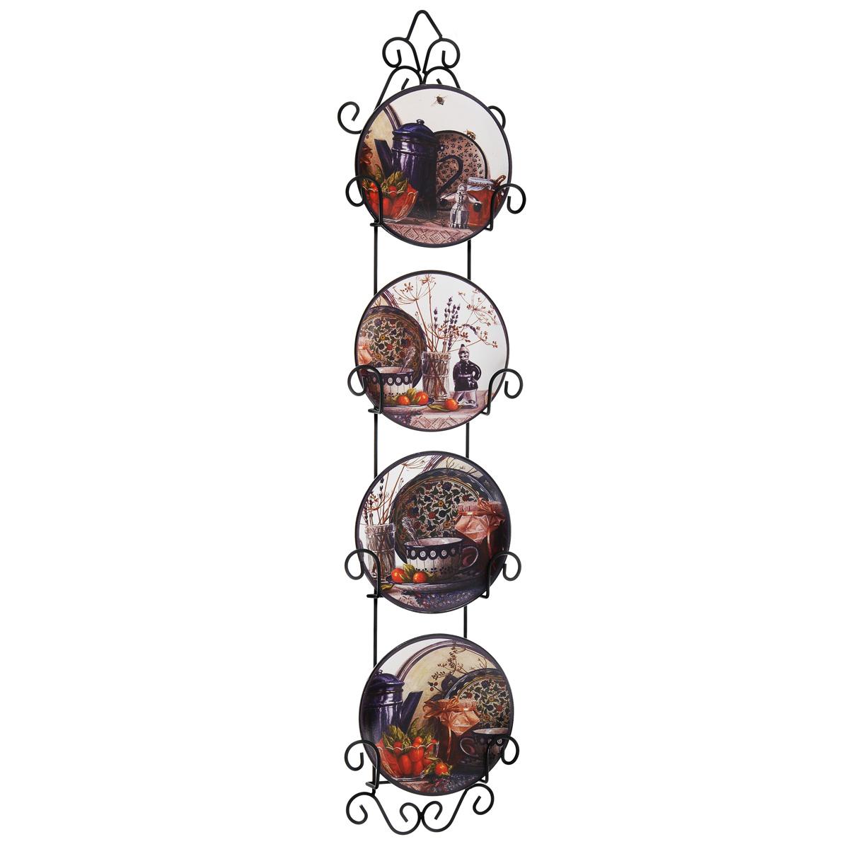 Набор декоративных тарелок Чайный набор, диаметр 11 см, 4 шт36251Набор из четырех декоративных тарелок с ярким рисунком украсят практически любое ваше помещение, будь то кухня, столовая, гостиная, холл и будут являться необычным дизайнерским решением. Тарелки выполнены из доломитовой керамики, подставка в виде вертикальной этажерки, благодаря которой сувенир удобно и быстро крепится к стене, - из черного металла. Каждая тарелочка, декорированная изображениями чайных чашек и чайника, помещается в отдельную нишу. Очаровательный набор декоративных тарелок - замечательный подарок друзьям и близким людям. Размер тарелки (без подставки): 11 см х 11 см х 1,5 см. Размер сувенира с подставкой: 3 см х 12,5 см х 56 см.
