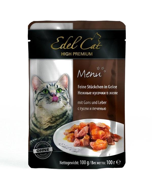 Консервы для кошек Edel Cat, с гусем и печенью в желе, 100 г15142Консервы Edel Cat со вкусом гуся и печени, являются сытным и полезным лакомством. Немецкие специалисты тщательным образом подбирали ингредиенты с учетом всех возрастных особенностей кошек. В результате был изготовлен продукт, который не просто удовлетворяет суточную потребность в пище, но лакомство, оказывающее благотворное воздействие на организм домашних питомцев. За счет витаминов укрепляется иммунная система ваших питомцев. Чарующий корм Edel Cat сведет с ума любую кошку своим изумительным вкусом. Корм сделан на основе печени и гуся. Эти деликатесные мясные кусочки в желе привлекут внимание даже самых привередливых пушистых питомцев. В консервы можно добавлять каши и сухой корм, но можно подавать и в чистом виде. Состав: мясо и мясопродукты (5% гуся, 5% печени), минеральные вещества, инулин (0,1%). Аналитический состав: влажность 82%, сырой протеин - 8,5%, сырой жир - 4,5%, зола - 2%, клетчатка - 0,3%. Пищевые добавки на кг: витамин...