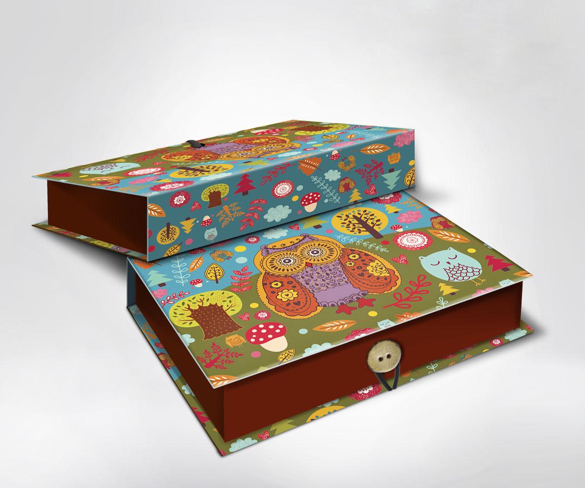Подарочная коробка Совушки, 22 см х 16 см х 7 см36488Подарочная коробка Совушки выполнена из плотного картона. Крышка оформлена ярким изображением забавных сов. Коробка закрывается на пуговицу. Подарочная коробка - это наилучшее решение, если вы хотите порадовать ваших близких и создать праздничное настроение, ведь подарок, преподнесенный в оригинальной упаковке, всегда будет самым эффектным и запоминающимся. Окружите близких людей вниманием и заботой, вручив презент в нарядном, праздничном оформлении.