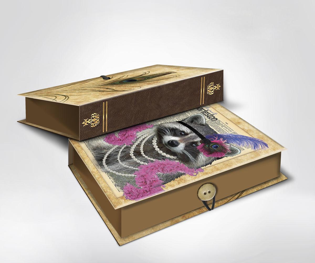 Подарочная коробка Енот, 22 х 16 х 7 см36533Подарочная коробка Енот выполнена из плотного картона. Крышка оформлена ярким изображением забавного енота в бусах и перьях. Коробка закрывается на пуговицу. Подарочная коробка - это наилучшее решение, если вы хотите порадовать ваших близких и создать праздничное настроение, ведь подарок, преподнесенный в оригинальной упаковке, всегда будет самым эффектным и запоминающимся. Окружите близких людей вниманием и заботой, вручив презент в нарядном, праздничном оформлении.