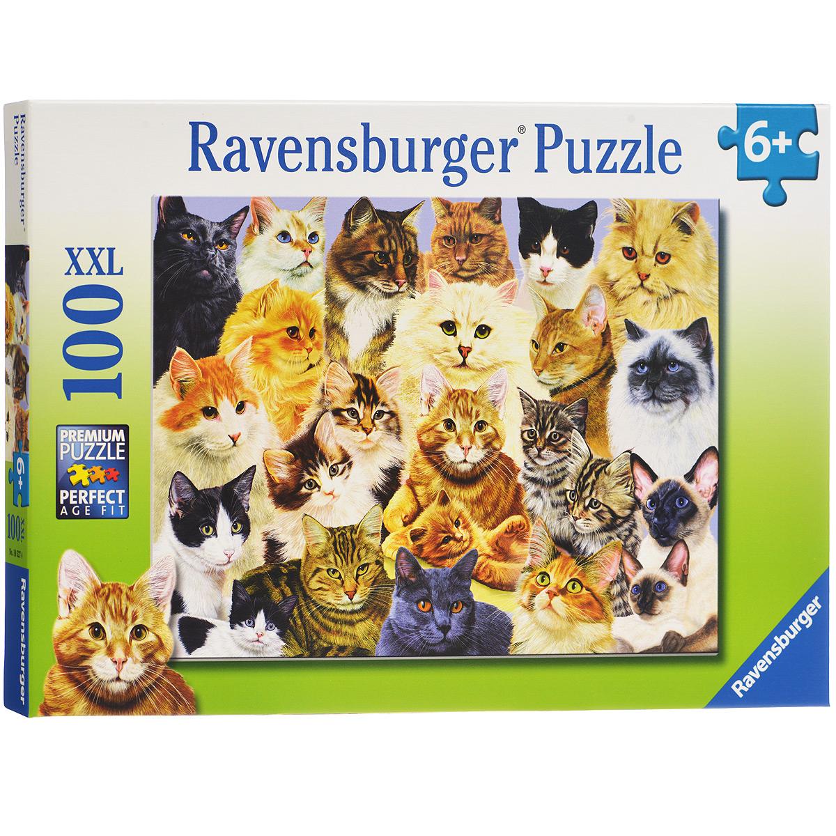 Ravensburger Парад кошек. Пазл XXL, 100 элементов10527Пазл Ravensburger Парад кошек, без сомнения, придется по душе вам и вашему малышу. Собрав этот пазл, включающий в себя 100 элементов, вы получите великолепную картину с изображением кошек. Каждая деталь имеет свою форму и подходит только на своё место. Нет двух одинаковых деталей! Пазл изготовлен из картона высочайшего качества. Все изображения аккуратно отсканированы и напечатаны на ламинированной бумаге. Пазл - великолепная игра для семейного досуга. Сегодня собирание пазлов стало особенно популярным, главным образом, благодаря своей многообразной тематике, способной удовлетворить самый взыскательный вкус. А для детей это не только интересно, но и полезно. Собирание пазла развивает мелкую моторику у ребенка, тренирует наблюдательность, логическое мышление, знакомит с окружающим миром, с цветом и разнообразными формами.