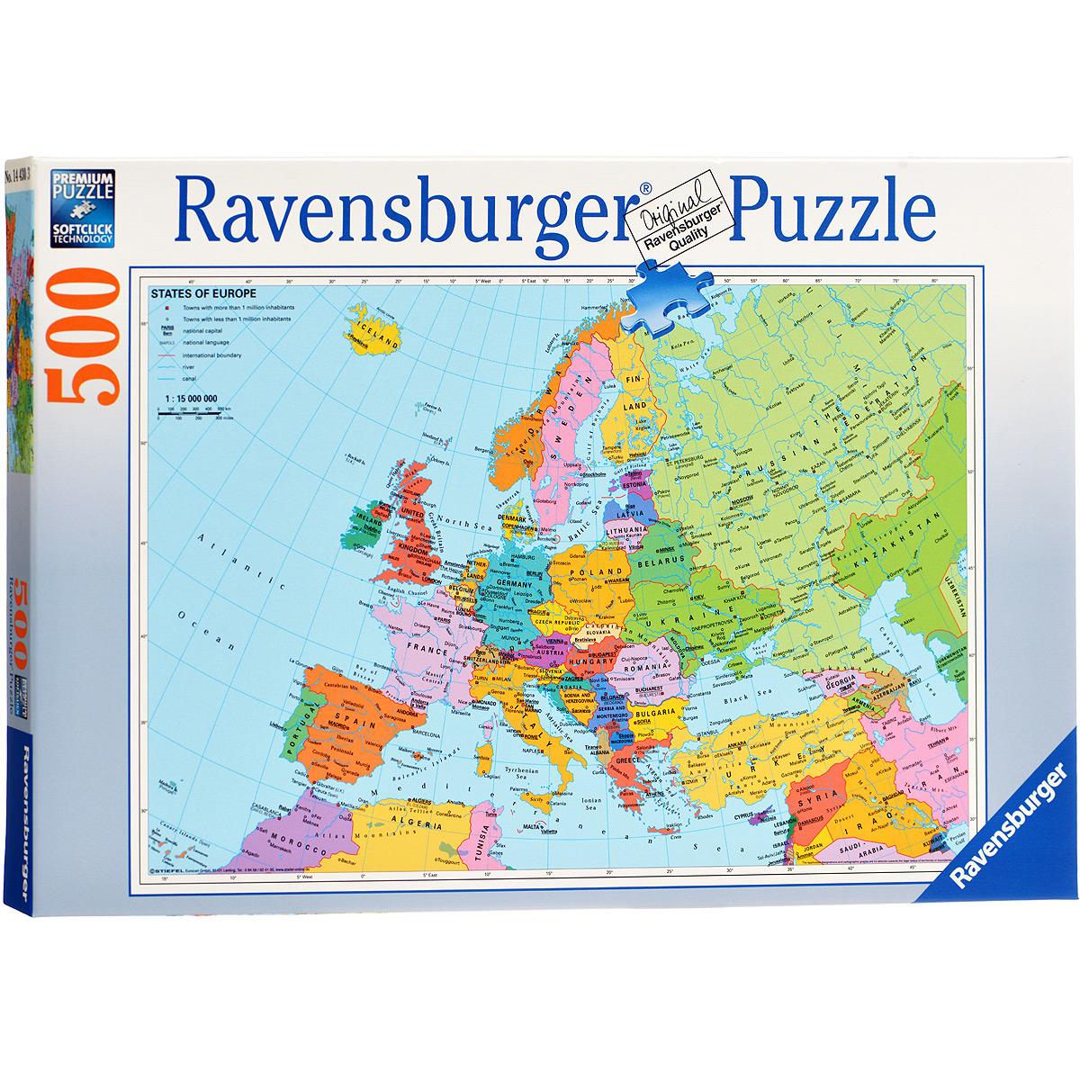 Ravensburger Политическая карта Европы. Пазл, 500 элементов