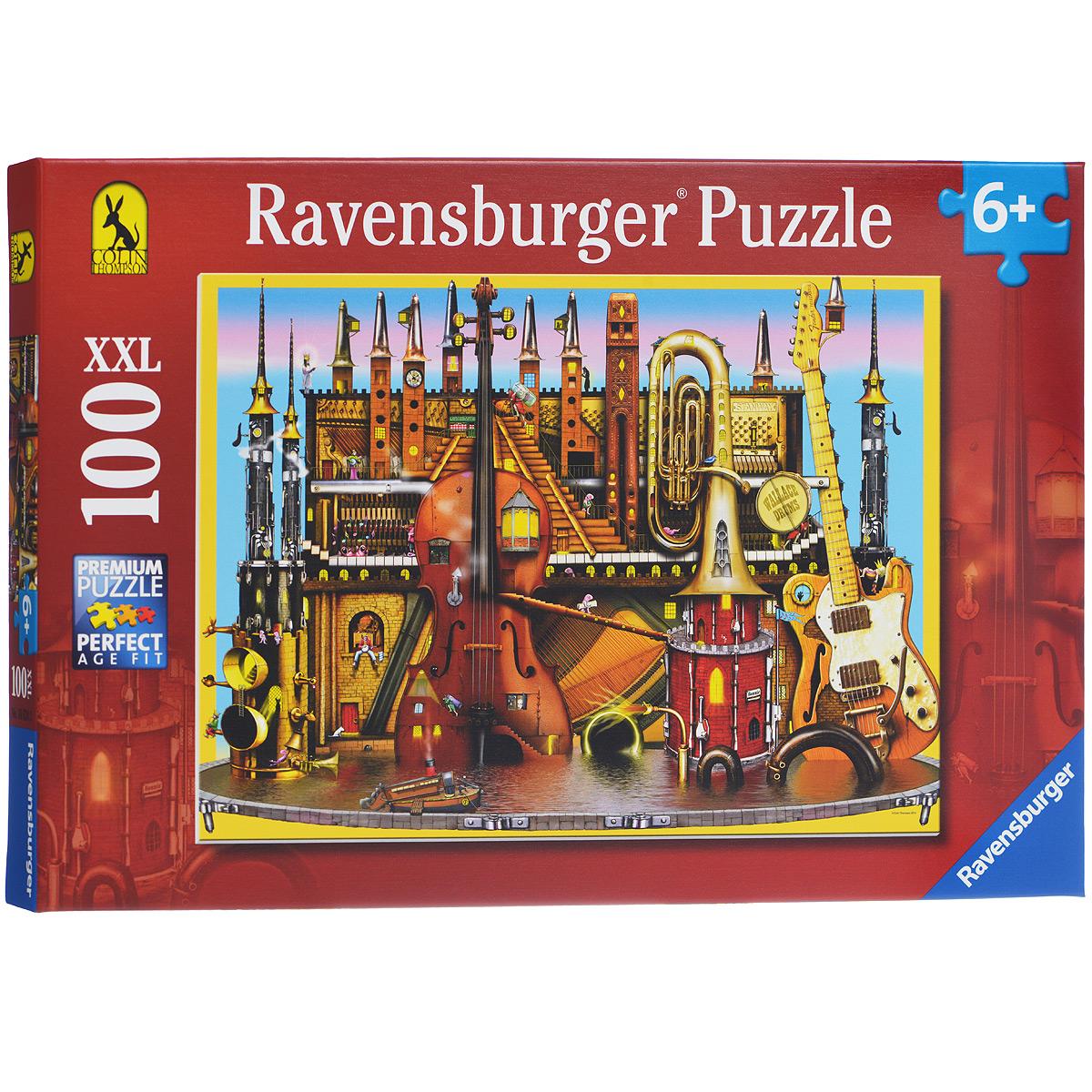 Ravensburger Музыкальный замок. Пазл XXL, 100 элементов10524Пазл Ravensburger Музыкальный замок, без сомнения, придется по душе вам и вашему малышу. Собрав этот пазл, включающий в себя 100 элементов, вы получите великолепную картину с изображением необычного музыкального замка, состоящего из множества музыкальных инструментов. Среди них гитары, скрипки, духовые и струнные инструменты. Каждая деталь имеет свою форму и подходит только на своё место. Нет двух одинаковых деталей! Пазл изготовлен из картона высочайшего качества. Все изображения аккуратно отсканированы и напечатаны на ламинированной бумаге. Пазл - великолепная игра для семейного досуга. Сегодня собирание пазлов стало особенно популярным, главным образом, благодаря своей многообразной тематике, способной удовлетворить самый взыскательный вкус. А для детей это не только интересно, но и полезно. Собирание пазла развивает мелкую моторику у ребенка, тренирует наблюдательность, логическое мышление, знакомит с окружающим миром, с цветом и разнообразными формами.
